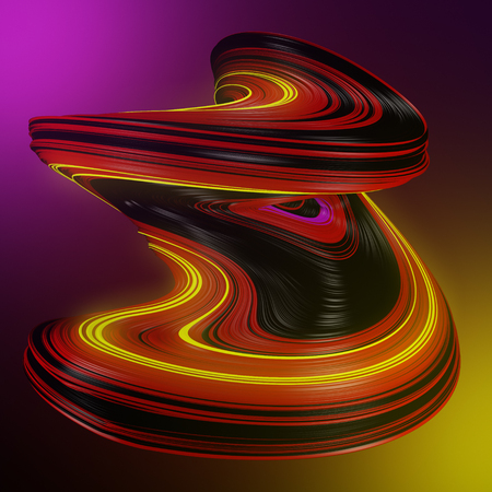 Futuristic colored abstract twisted shape on a vibrant color background. 3D render illustration