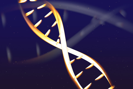Abstract glowing DNA structure on blue background with particles. Medical digital 3D render illustration