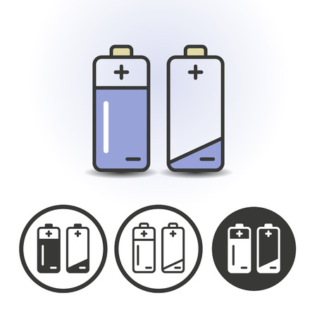 Battery full and empty contour line flat colored vector icons. Different variations for website or app infographics Ilustrace