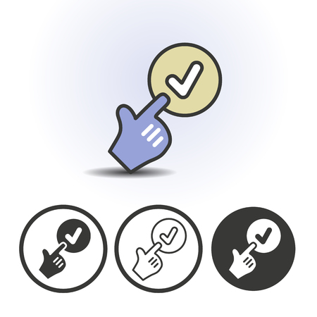 Hand cursor pointing finger at checkmark icon. Contour line flat colored vector icon. Different variations for website or app infographics.