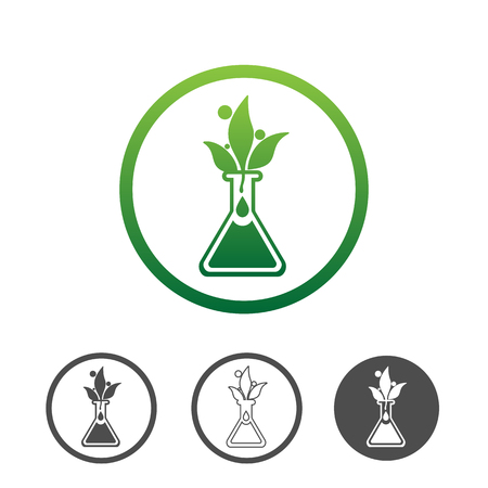 Natural plant extract icon, green leaves in a chemical vial. Contour line flat green vector icon. Different variations for website or app infographics.  イラスト・ベクター素材