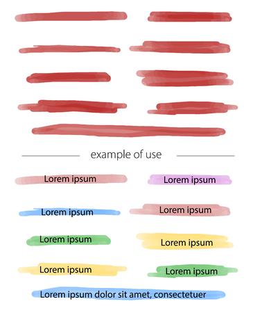 Farbmarkierungsstreifen und Pinselstriche. Vektor-Textmarker zur Akzentuierung