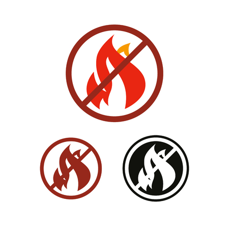 No fire and flame vector icon, prohibition and forbidden. Anti-inflammatory effect sign Illustration