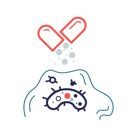 Bacterium resistant to antibiotic under biofilm. Flat vector icon. Medical illustration Vektorové ilustrace