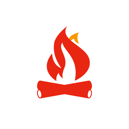 Fire and firewood. Campfire or bonfire red flat vector icon