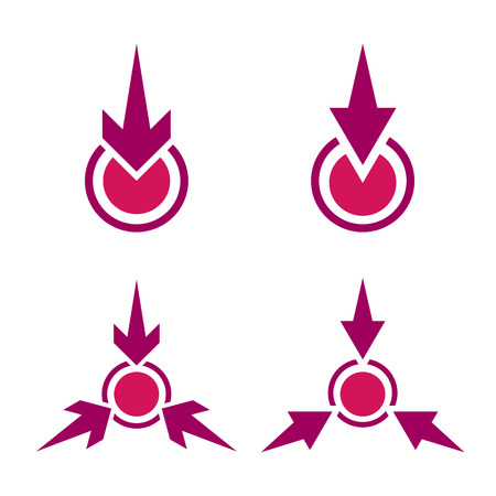 Meeting Point flat vector icon. Different variants of epicenter symbol. Arrows pointing to the center Ilustração