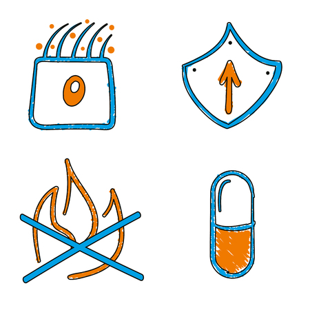 Hand drawn medical vector blue and orange vector icons. Nasal mucosa cell and micro cilia, shield, inflammation and pill