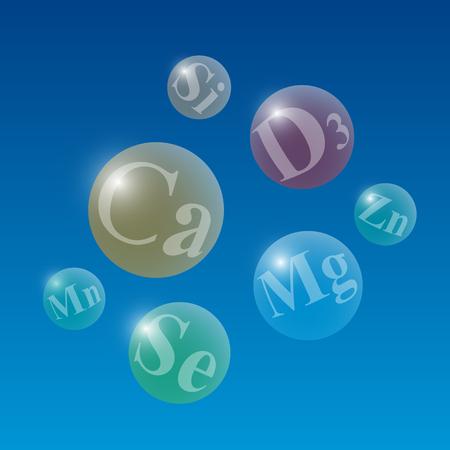 Leuchtende durchscheinende Kugeln mit Namen nützlicher Mikroelemente auf blauem Hintergrund. Medizinische Vektorillustration