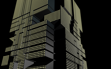 Futuristic building of abstract geometric shape at night. 3D rendering illustration