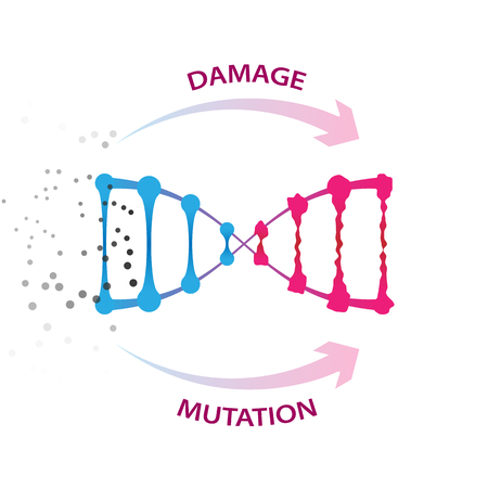 External factors that cause dna damage and mutations. Medical vector illustration on white background
