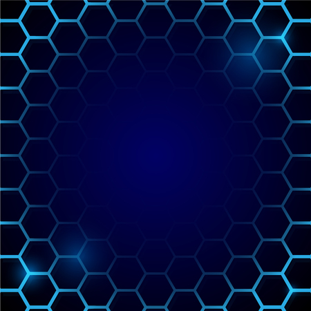 Futuristic blue honeycomb pattern. Hexagonal cell conceptual vector background Фото со стока - 125944454