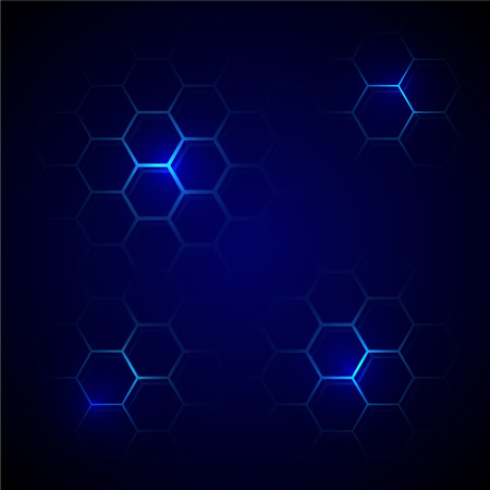 Futuristic blue honeycomb pattern. Hexagonal cell conceptual vector background