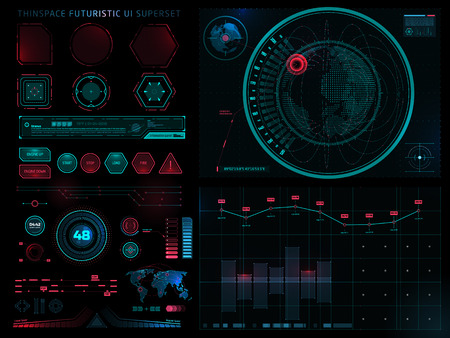 Futuristic Sci Fi Modern User Interface Set. Abstract HUD. Digital vector illustration