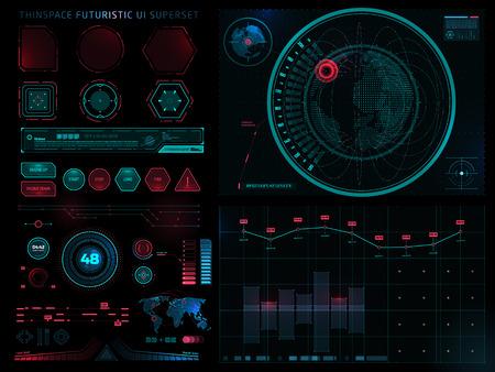 Futuristic Sci Fi Modern User Interface Set. Abstract HUD. Digital vector illustration Фото со стока - 125944457