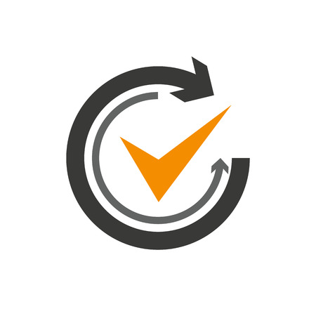 Flat icon of graphical symbol of movement, rotation, cyclic recurrence, etc. Vector illustration Ilustracje wektorowe