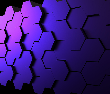 Abstract purple and blue retro neon hexagonal background. Futuristic technology concept. 3d rendering illustration. Wall hex geometry pattern. Carbon cells. Polygonal dark surface. Polished mosaic