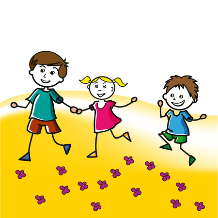 Hand drawn children walk on the lawn in the summer. Two little boys and one girl, vector illustration