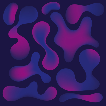Abstract neon plasma bubble shapes on dark blue background. Vector illustration