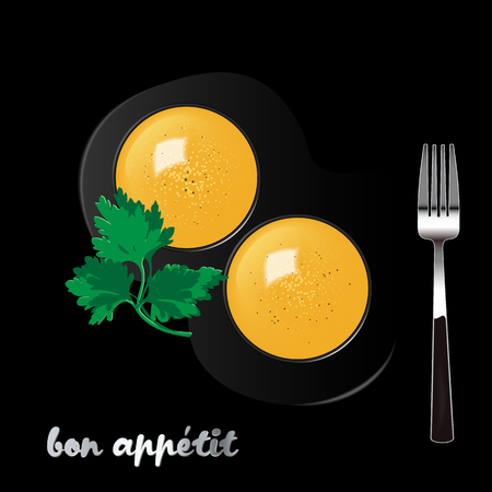 Two egg yolks sprinkled with salt and pepper with a sprig of parsley and a fork on a black background. Realistic vector illustration