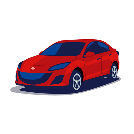 Modern Japanese car in blue and red colors isolated on white background, flat vector illustration Vector Illustration