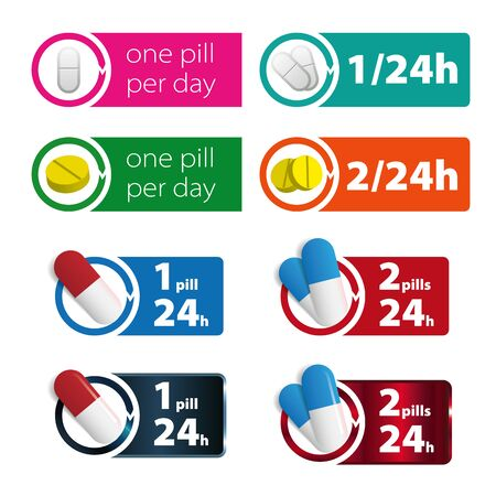 One pill, two pills per day colorful sign. Medical vector illustration