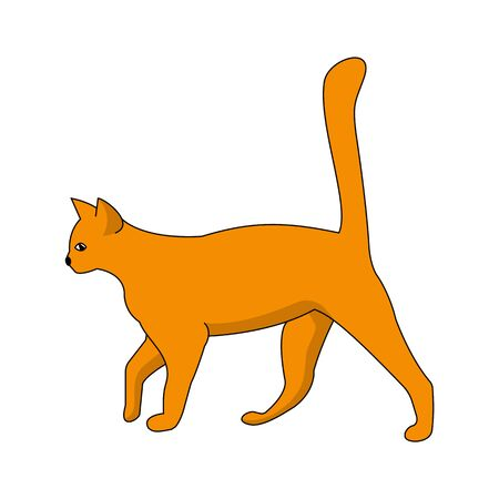 Red cat with a raised tail isolated on a white background. Cartoon silhouette vector illustration Иллюстрация