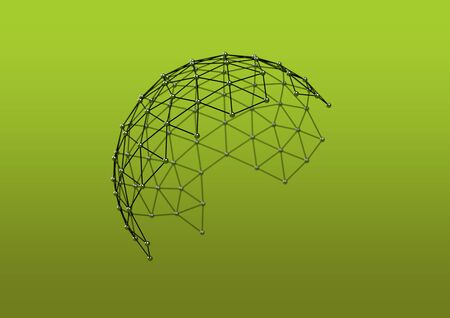 Atomic molecular lattice metal hemisphere on green yellow background. Sphere with connected lines and dots. Wireframe network, 3D illustration rendering
