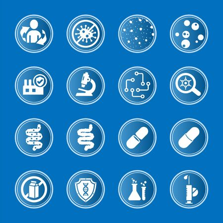 Collection of vector medical icons on the subject of the intestinal immune system