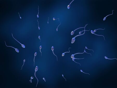 A lot of sperm searching for female egg cell on a dark blue background. 3D rendering medical illustration