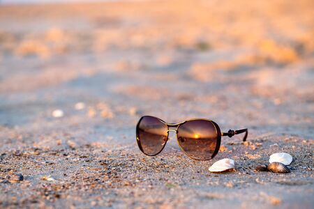 Sunglasses and seashells lie on the wet sand. The sun reflecting in glasses. Close-up, early morning sunrise