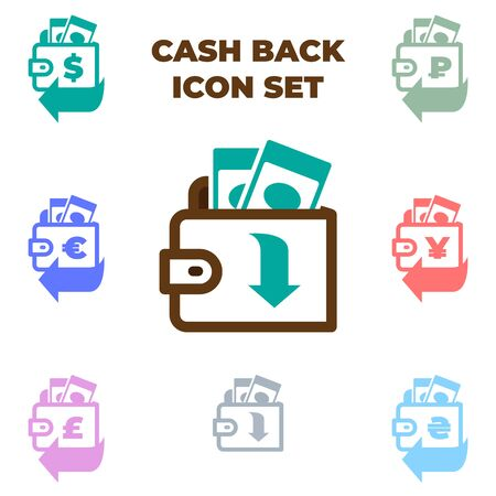 Cashback icon set with different currencies. Vector brown wallet with paper money illustration isolated on white background. Иллюстрация