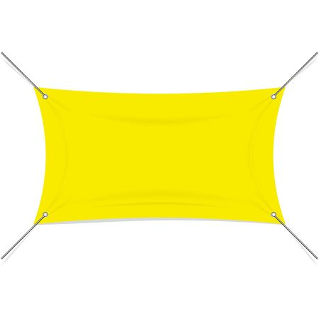 Blank yellow textile or vinyl banner with corner rope extensions. Vector Illustration Isolated on white background. Ready Template for Your Logo, Text and Design