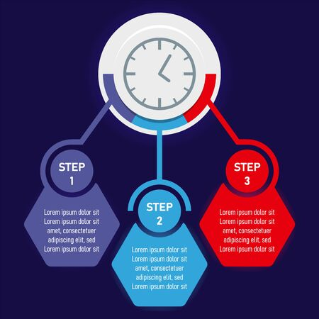 Abstract clock chart with three action steps, colored elements of infographics. Vector illustration