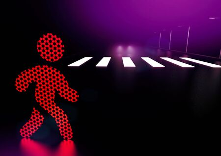 Traffic light man icon crosses the road in the wrong place at night. Careless pedestrian concept