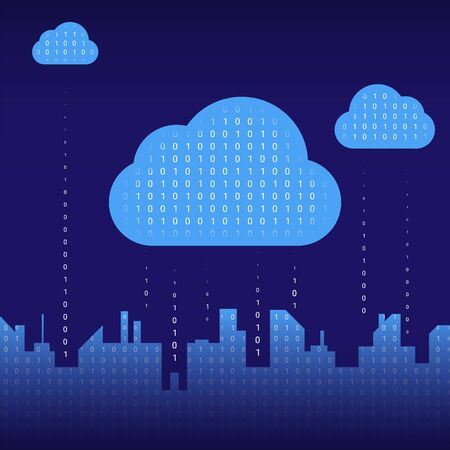 Abstract futuristic digital city silhouette, binary rain, cloud service connected, high-tech background. Network digital technology concept
