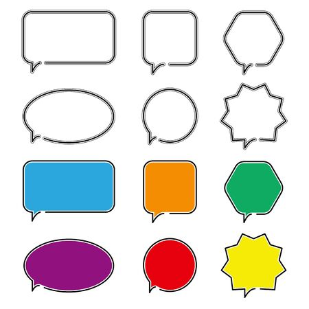 Speech bubble icons. Different geometric shapes outline symbol for web design or mobile app. Thin line sign for design logo. Black outline pictogram on white background
