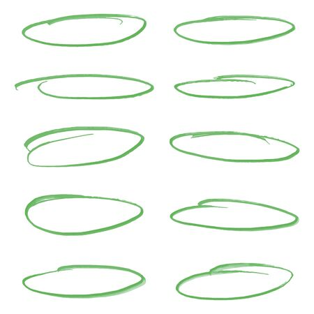 Set of light green oval vector highlighter marker strokes for text accentuation