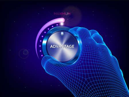 Hand of man tuning power control knob. Artificial intelligence. Maximum power, advantage, skill concept. Sci-fi futuristic style vector illustration.