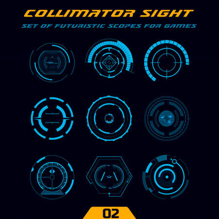 Futuristic circular HUD. Military collimator sights, weapon scopes. Sniper targets and aiming crosshairs. Elements for action games or space simulators.
