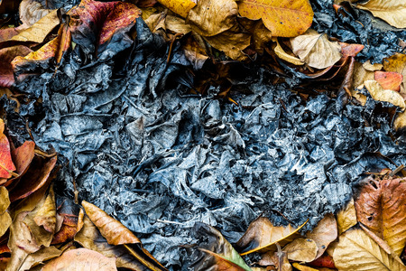 heart burn: Dry autumn leaf burn and heart shape Stock Photo