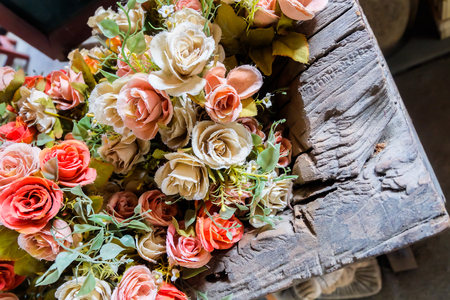 Colorful flowers bouquet in the bazaar Stock Photo