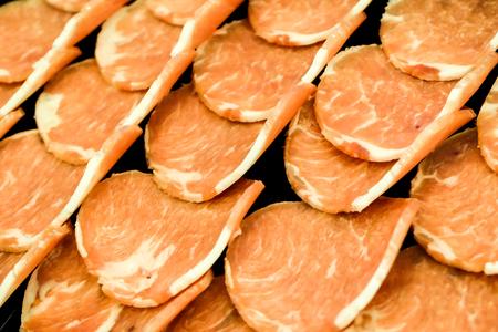 closeup Pork raw meat slides on dish BBQ grill