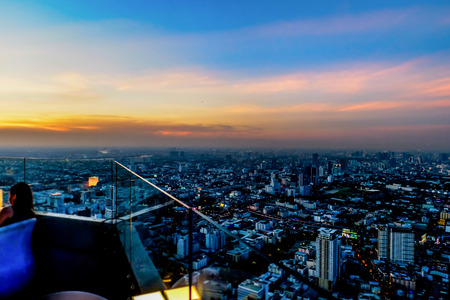 blur view from high building megapolis Bangkok city view from above Thailand Zdjęcie Seryjne