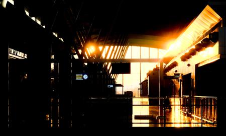 Empty terminal railway station at the sunset Zdjęcie Seryjne