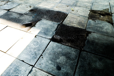 The footpath is Damaged out of care in the city decline Abandon concept Zdjęcie Seryjne