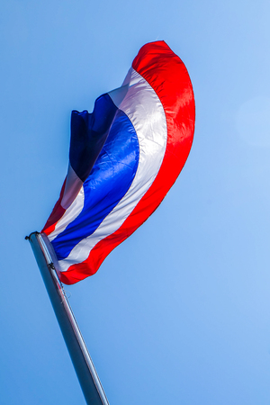isolated object Thai flag look like butterfly in blue sky background