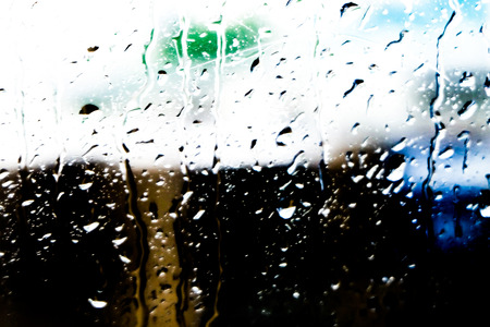 natural water drops on window glass rainy season concept Zdjęcie Seryjne