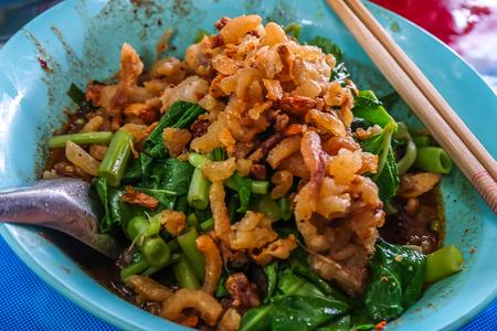 Minced pork noodles (Namtok noodles) blood soup