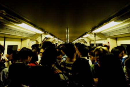 crowd in the Metro sky train on rush hour bangkok thailand Zdjęcie Seryjne