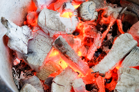 Texture embers closeup. Embers after a fire. Stock Photo